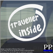 1 x Traveller Inside-Window,Car,Van,Sticker,Sign,Vehicle,Adhesive,World,Globe